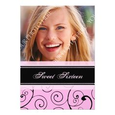 Pink Black Photo 16th Birthday Party Invitations