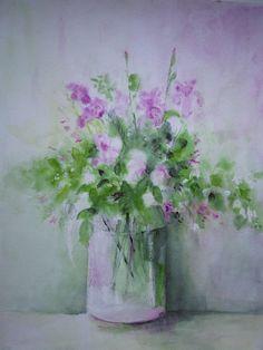 https://flic.kr/p/q3okP2 | Bouquet pastel | Aquarelle sur Monval 40x50. Dessin fait d'après modèle, Fleurs de jardin