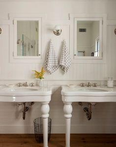 Farmhouse Bathroom with Matching Sinks