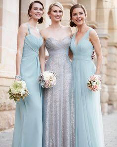 """""""Love this new Evening Mist color from #SorellaVita! And how amazing does it look paired with a special pewter sequin gown for your maid of honor? …"""""""