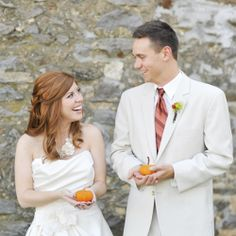 Rustic autumn wedding with details to die for! Autumnal bouquet, fall foliage, & pumpkins!