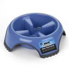 "Petmate JW Skid Stop Slow Feed Dog Bowl Large Blue 10.5"" x 10.5"" x 3.25"""