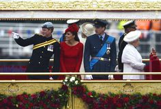 Harry, Kate and Wills aboard the Royal Barge for Diamond Jubilee Royal Flotilla. June 3, 2012.