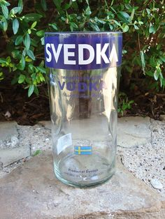 Drinking Glass with Handle Recycled from Large Svedka Vodka Bottle 45 oz