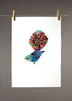 FANTAIL STENCIL | Hand Painted: $200 350mm x 500mm (small)  $300 500mm x 700mm (large)  Unique | Flox.co.nz