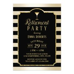 Modern Black & Gold Cocktail Retirement Card - invitations custom unique diy personalize occasions