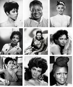 Black Women of Hollywood (1st row from left: Diahann Carroll, Hattie McDaniel, Lena Horne. 2nd row Ruby Dee, Ethel Waters, Dorothy Dandridge. 3rd row: Pam Grier, Eartha Kitt, & Cicely Tyson)