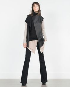 ZARA - WOMAN - JACKET WITH FAUX LEATHER POINTED FRONT Ref. 2162/150