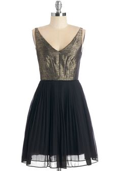 Leave It to Luxe Dress - Mid-length, Woven, Black, Gold, Pleats, Party, Holiday Party, A-line, Sleeveless, V Neck
