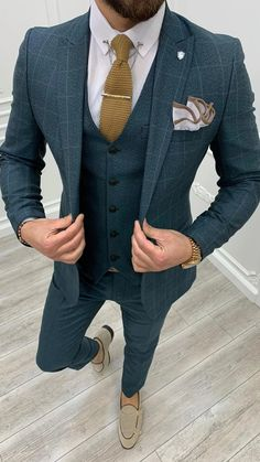 Plaid Suit, Suit Vest, Mens Fashion Suits, Mens Suits, Green Suit, Green Jacket, Slim Fit Suits, Checked Suit, Formal Suits