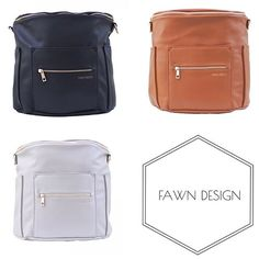 Fawn Design Diaper Bag or Anytime Bag! These bags can be worn as messenger bag or a backpack! They are faux leather on the outside as well as the inside, making the entire bag wipe able. The inside also pulls out for easy cleaning. Fawn Design bags don't look like most diaper bags, but still have all the function. They're so stylish the men in your life won't mind carrying them around!