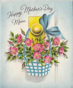 Vintage Greeting Card Mother's Day Flowers Basket UNUSED L914