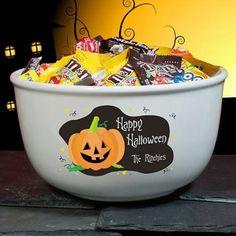Personalized Happy Halloween Ceramic Bowl