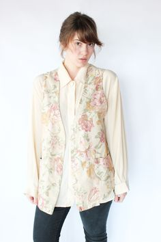 Floral 80s Vest - Cream, Pink, and Green Oversized Floral Vest with Pockets - M / L. $24.00, via Etsy. #vintage #vintagefashion #fashiontrends #80s #vest #floral #flower #pale #pastel #pfv #paisleyfacevintage