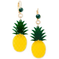 Celebrate Shop Fruit Earrings (25 BRL) ❤ liked on Polyvore featuring jewelry, earrings, accessories, pineapple, plastic earrings, plastic jewelry, lemon earrings, pineapple earrings and dangling jewelry
