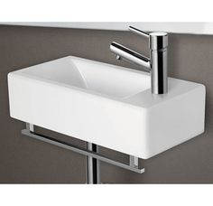 """$315 ALFI Brand AB108 9-1/2"""" Porcelain Wall Mount Bathroom Sink with Single Hole Drilled and Overflow Image"""