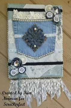 ScraPerfect: Denim and Lace Canvas, Mixed Media with ScraPerfec...