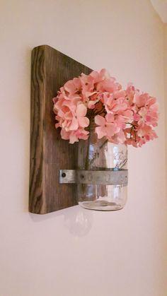 Wallmounted Mason Jar Reclaimed Wood and by SpudsCreativeAsylum