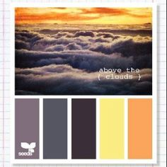 Above the clouds color pallet. Wedding colors. Plum and gray clothing with yellow and orange flowers/ accents