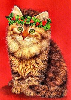 So Pretty Vintage Christmas Cat with Crown of Holly and Berries