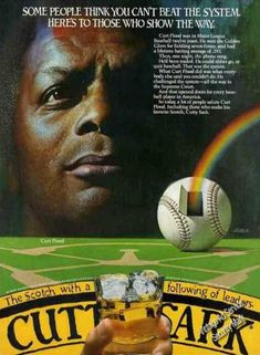 Curt Flood Photo Baseball Rare Cutty Sark (1982) - one who changed the game. Well done Mr. Flood.