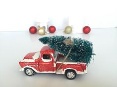 1955 chevy christmas decor retro red truck with by alexandaudrey