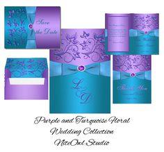 turquoise and purple wedding invitations                              …