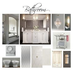 Bathroom by veryvlada on Polyvore featuring interior, interiors, interior design, дом, home decor, interior decorating, Pottery Barn, Restoration Hardware, Fine Art Lamps and bathroom