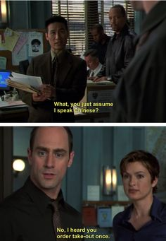 Law and Order:SVU. Reaaaal politically correct Eliot. Lol