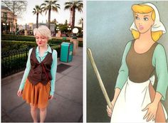 "Cinderella, Cinderella | 39 Stylish People Who Are Secretly Disney Characters * Adults aren't allowed to dress in costume in the parks, so these are some really fun alternatives! True story: I wore a Tinkerbell T-shirt and did my hair like her (little blue ribbon and all) one day at WDW a few years ago, and one cast member spotted me on my way out of AK and said, ""'Bye, Tink!"" It made my day."