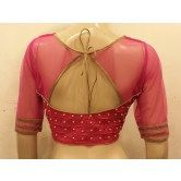 vivacious-pink-net-and-chanderi-silk-front-and-back-handworked-long-sleeves-blouse