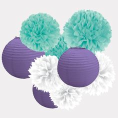 Hanging Decoration Kit – Blue, White & Purple...Leah's room...get more of a teal color though?!