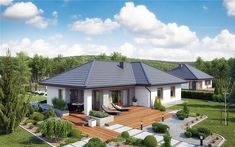 Projekt domu parterowego TK133 o pow. 119,71 m2 z obszernym garażem, z dachem wielospadowym, z tarasem, sprawdź! Modern Bungalow House, Bungalow House Plans, Modern House Plans, House Floor Plans, Village House Design, Village Houses, Beautiful House Plans, Beautiful Homes, Minimal House Design
