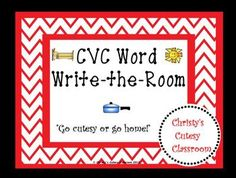 This chevron-themed literacy center features 10 cards picturing CVC words.   To play, students carry their recording sheets around the room and write the word to show the picture they see.  Great for beginning readers and writers.Christy's Cutesy Classroom