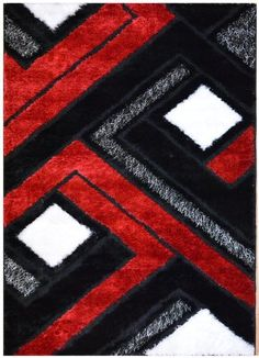 Modern Red Black White Pile Cut Design 5x8 Area Rug Carpet New Livingroom Pinterest And