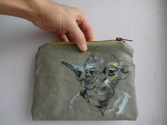 Star Wars Joda Hand Painted  Clutch Bag  Canvas Pencil by koatye1