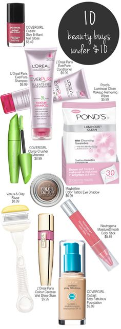 Top 10 Beauty Buys Under $10.00.
