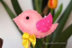 DIY / Passo a passo: Pássaro no palito em feltro