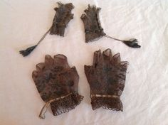 Antique Black Fingerless Gloves Crocheted Lace Mother/Daughter (Doll-sized)