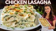 Creamy Shrimp Pasta Recipe (VIDEO) - NatashasKitchen.com Soup Recipes, Salad Recipes, Chicken Recipes, Dinner Recipes, Cooking Recipes, Easy Chicken Lasagna Recipe, White Chicken Lasagna, Chicken Casserole, Pasta Recipes