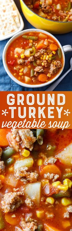 Ground Turkey Vegetable Soup - This yummy veggie soup with ground turkey recipe is easy and healthy!