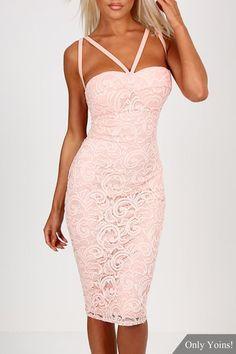 Pink Lace Bra Cross Back Bodycon Mini Dress