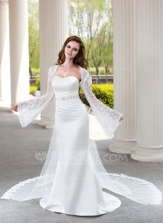Trumpet/Mermaid Sweetheart Watteau Train Satin Tulle Wedding Dress With Lace Beading (002004482)
