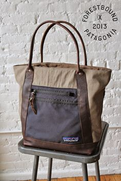 Excited to announce a collaboration between Forestbound and Patagonia! As a company Patagonia is all about recycling their old gea. Patagonia Bags, Patagonia Outfit, Fabric Tote Bags, Patchwork Bags, Best Bags, Denim Bag, Tote Purse, Purses And Handbags, Brown Handbags