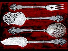 Antique French Sterling Silver Hors D'oeuvre Set 4 pc by Emile Puiforcat