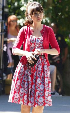 Zooey Deschanel ... love her style ... most of her looks are classroom friendly :)