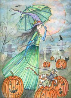 Hechicera turquesa de hallowen