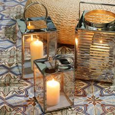 These simple, glass lanterns can be used both inside and outside to create mood and ambience. Each lantern will hold one cathedral candle easily but up to three could be accommodated.