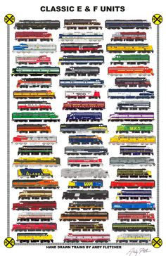 """An 11""""x17"""" poster with some of Andy Fletcher's hand drawings of classic E & F unit streamliners."""