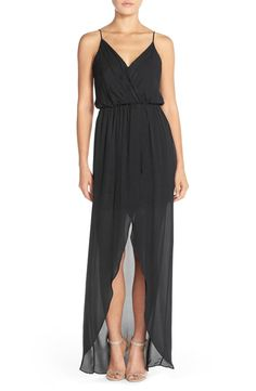 A full-length faux-wrap effect creates fit-for-a-goddess shaping and sway for this airy silk-georgette dress.